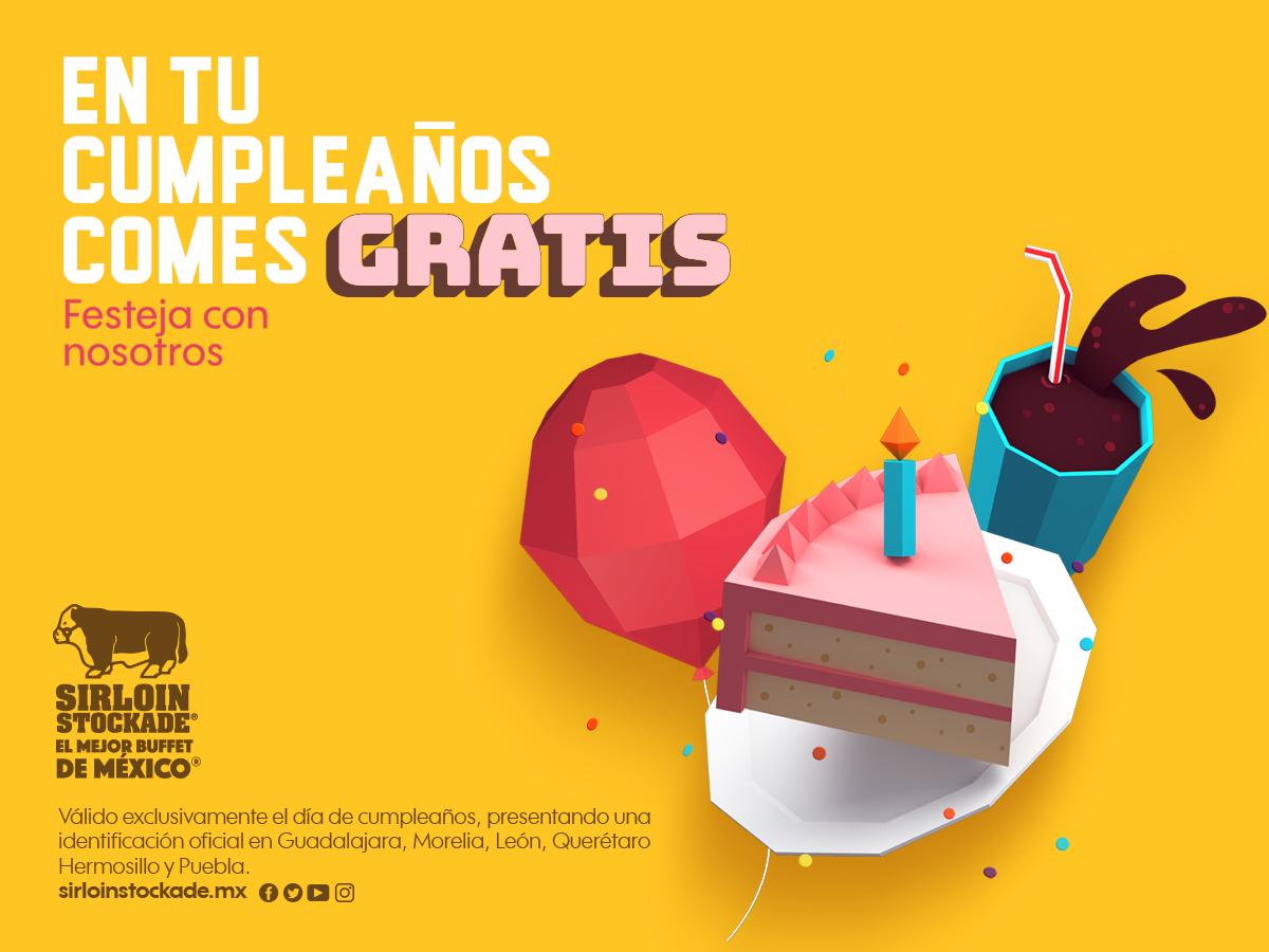 Sirloin México: Come Gratis en tu cumpleaños. Cupón de este año, aplica en GDL, Morelia ,León, QRO, Hermosillo y PUE.