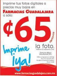 Farmacias Guadalajara: impresión de fotos a 65 centavos (aplica mínimo)