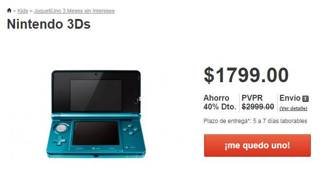 Nintendo 3DS $1,799 en mequedouno.com