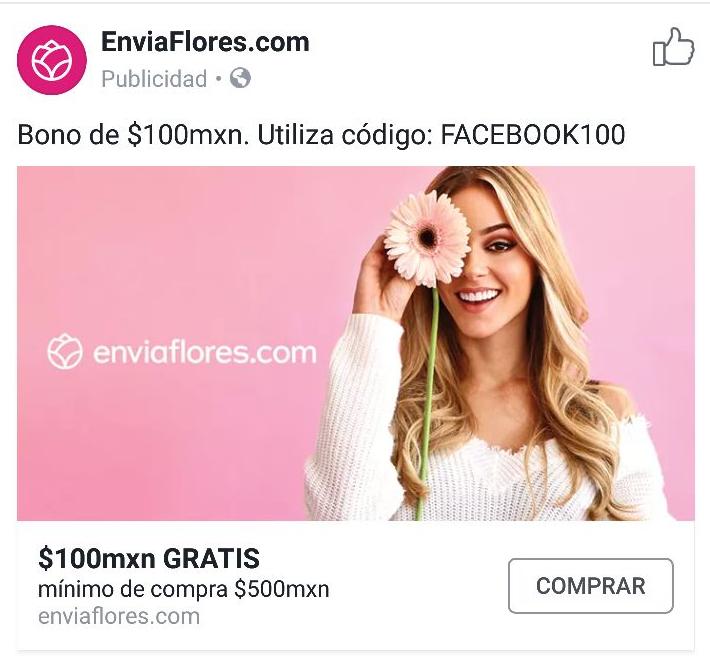 Enviaflores: descuento $100 en compra mínima de $500