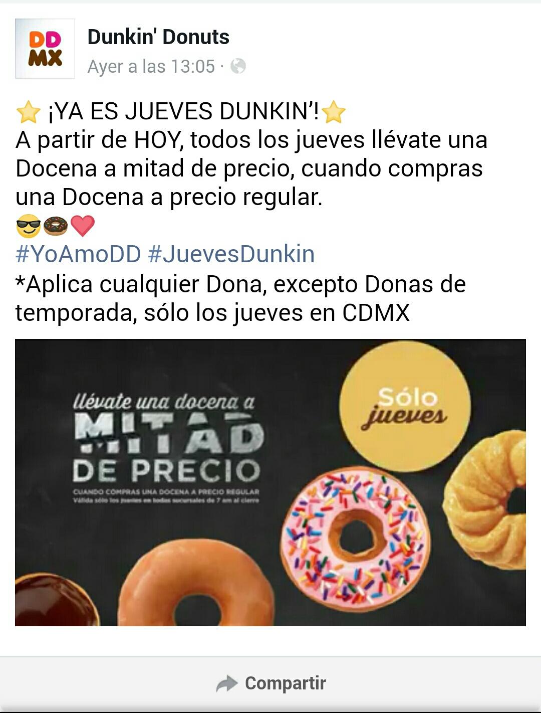 Dunkin' Donutus: Compra una docena y te dan 12 DONAS A MITAD DE PRECIO!!! (2 x1½)