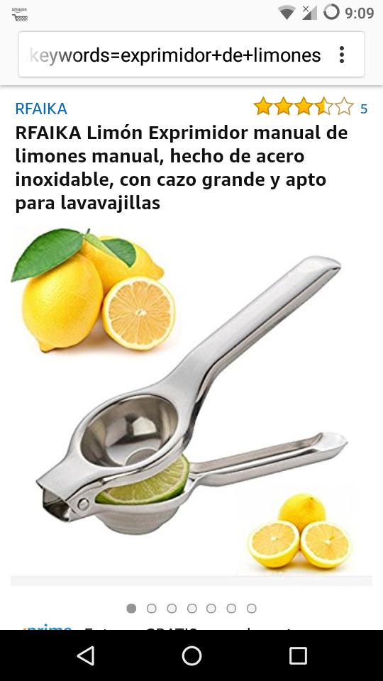 Amazon: Exprimidor de limones material en acero inoxidable