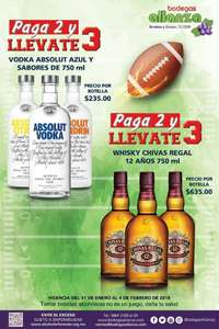 Bodegas Alianza: 3x2 en Vodka Absolut y Chivas Regal