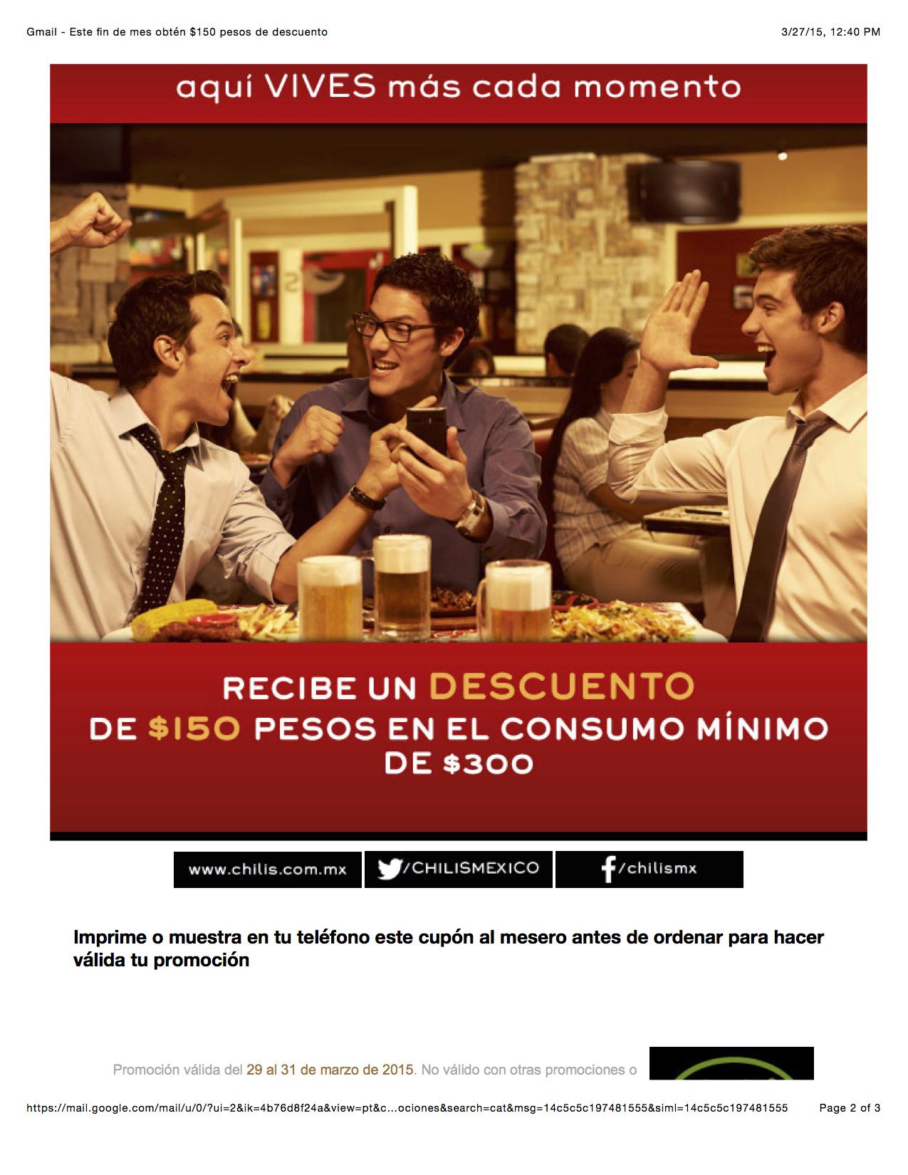 Chili's: Este fin de mes obtén $150.00 pesos de descuento en consumo mínimo de $300.00