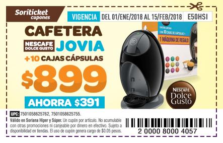 Soriana Soriticket: Super y Soriana Hiper, Máquina Dolce Gusto Jovia con 10 cajas de cápsulas