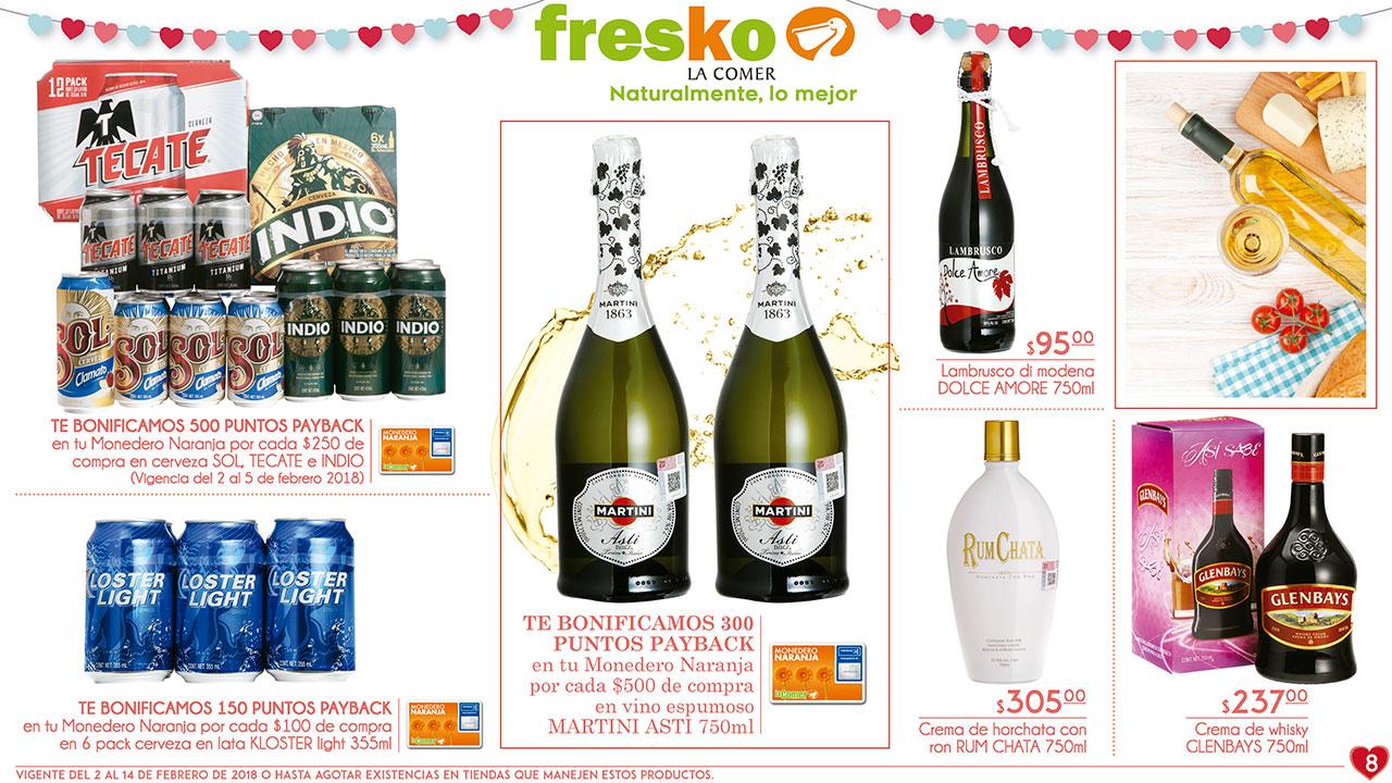 La Comer y Fresko: Folletos vigentes al 14 de febrero ¡Muchas bonificaciones! (Incluye en algunas cervezas) y varios 2x1 1/2 (incluye algunos preservativos)