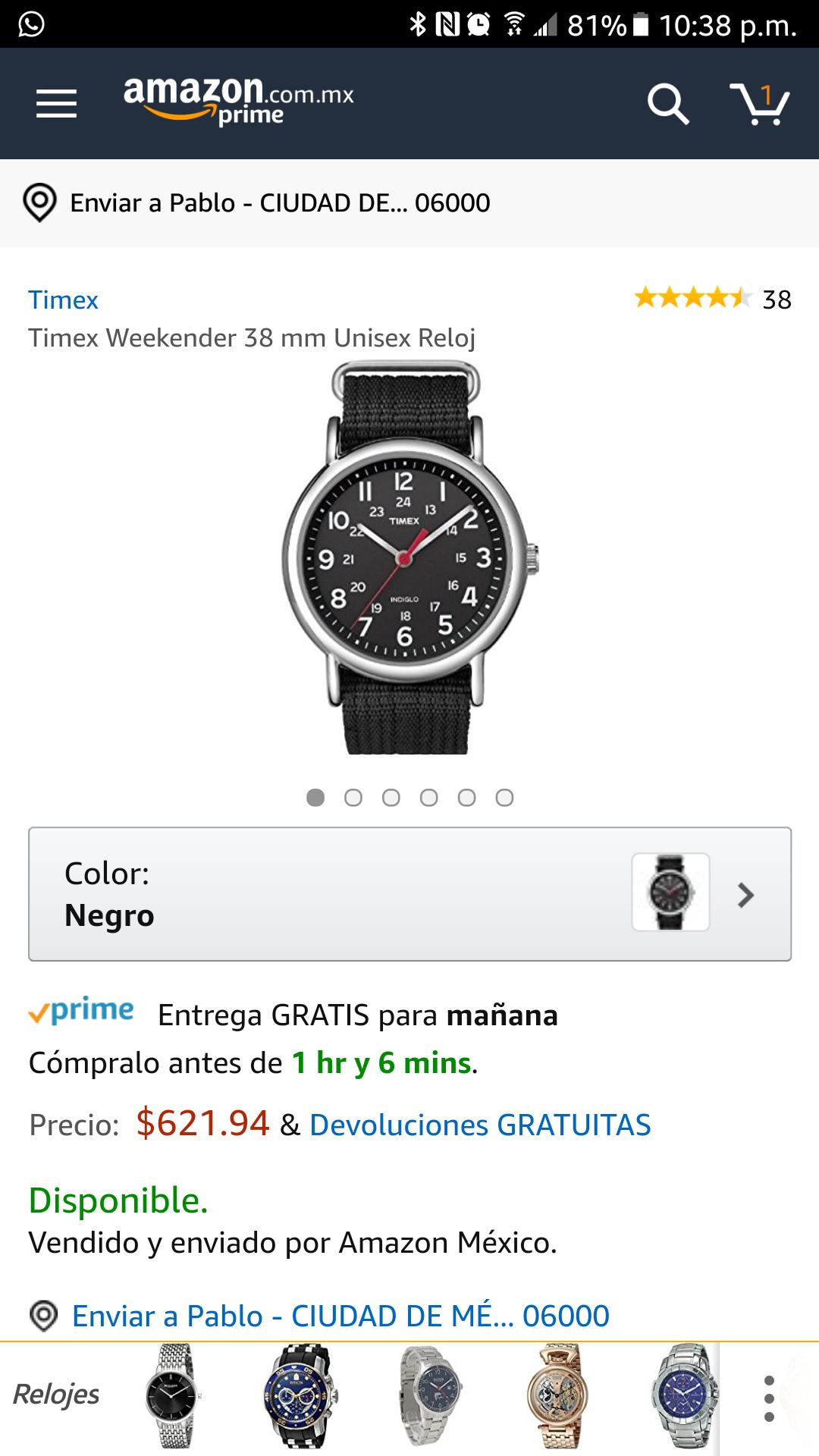 Amazon: Reloj Timex aplica Prime