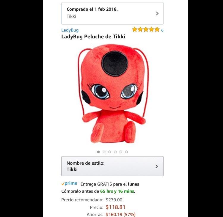 Amazon: LadyBug Peluche Tikki a $118.81