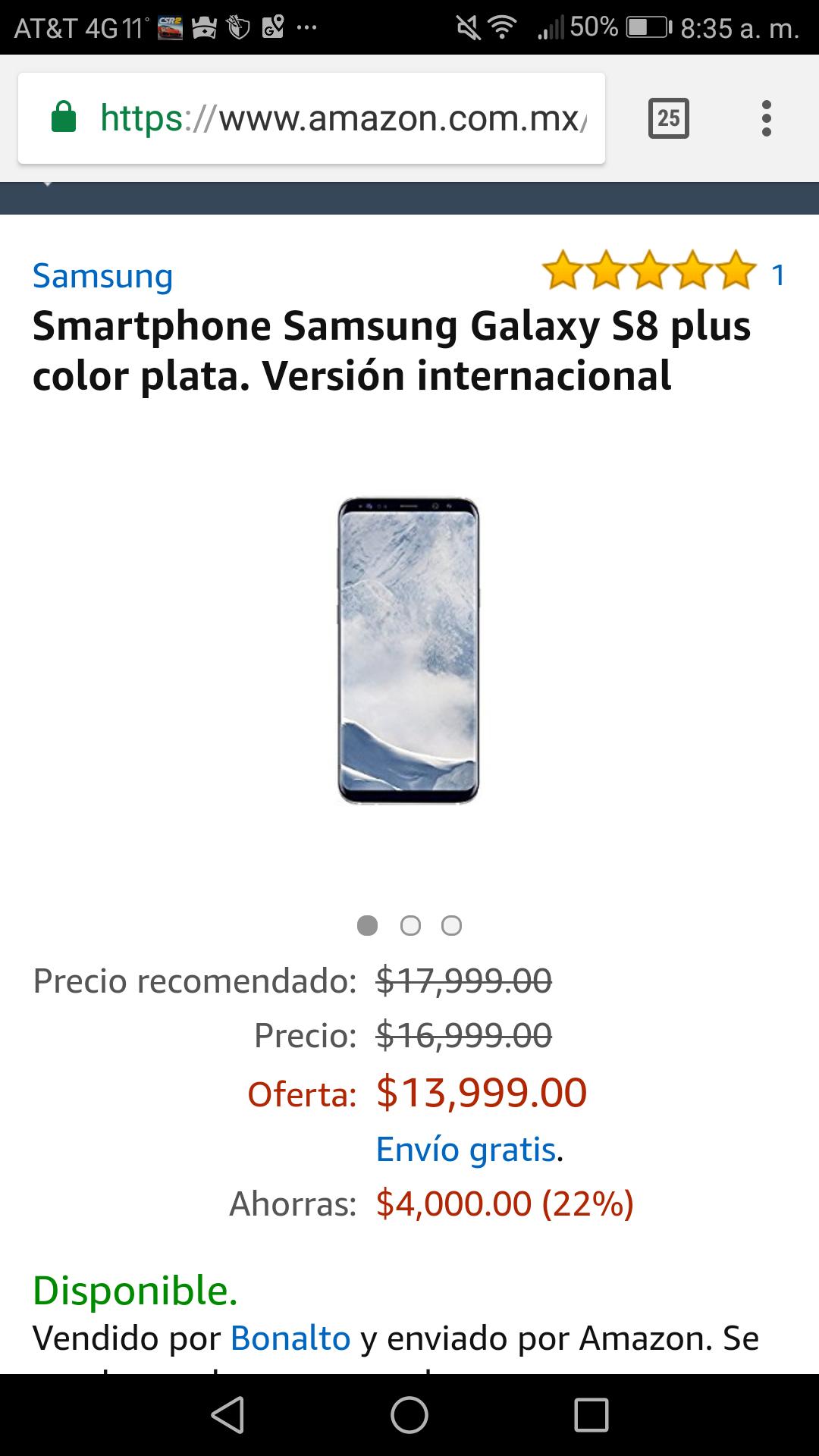 Amazon: Samsung Galaxy s8+ (vendido por un tercero)