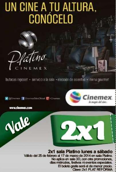 Cinemex: 2x1 para salas Platino con cupón