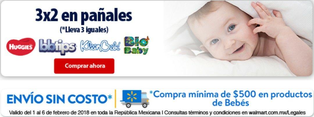Walmart en línea: feria del bebé 3x2 en pañales