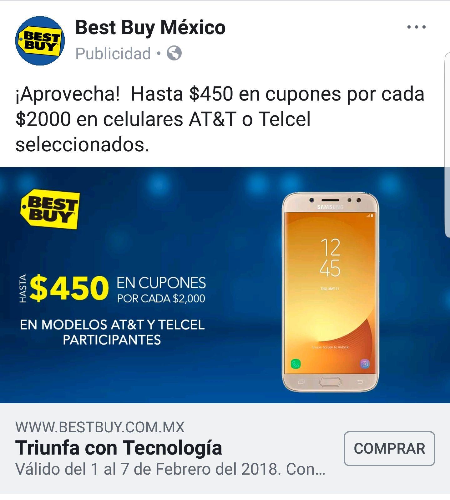 Best Buy: $450 en cupones por cada $2000 de compra en celulares seleccionados