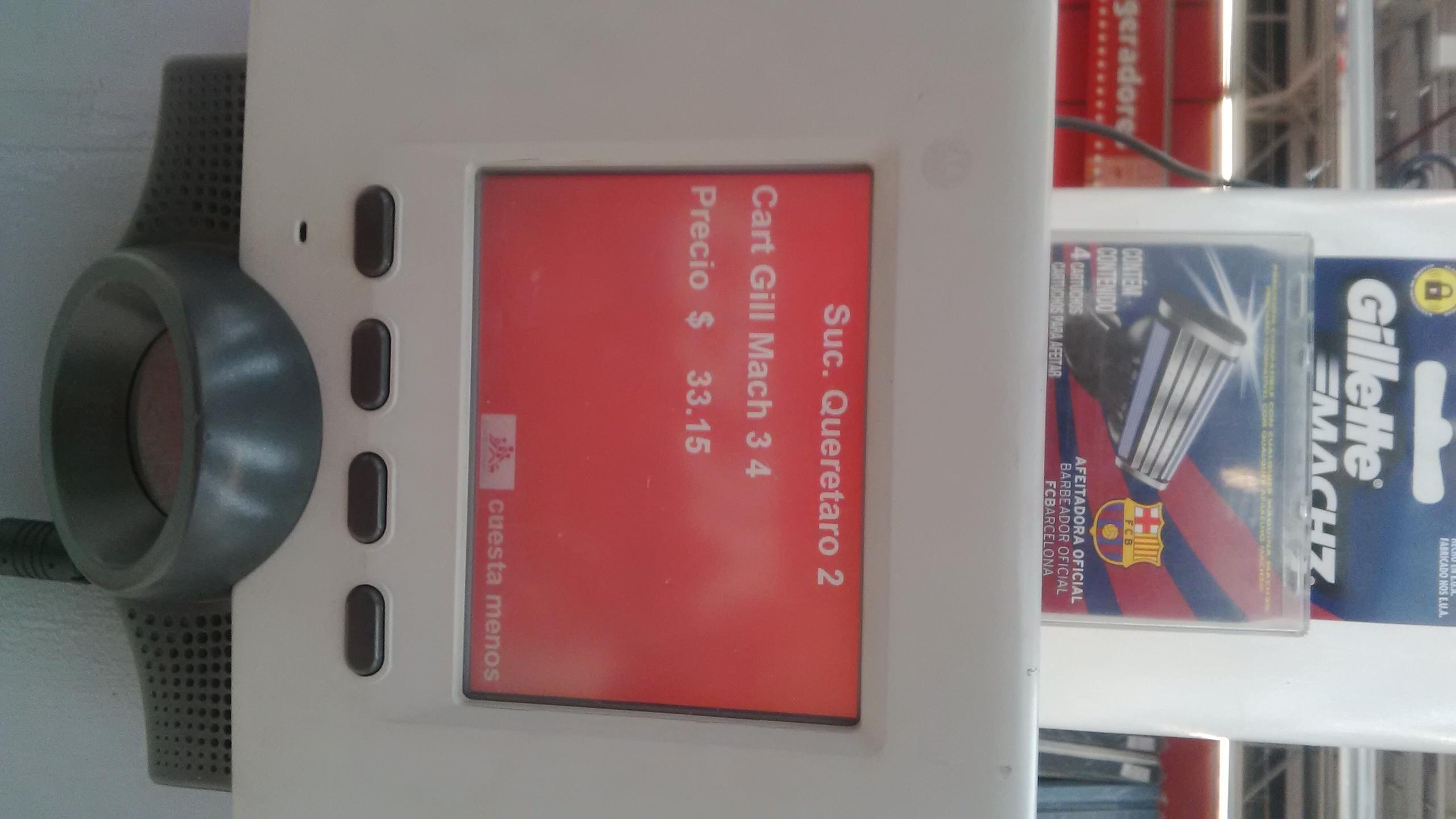 Chedraui: 4 cartuchos gillette barcelona $33.14