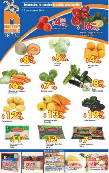 Ofertas de frutas y verduras en Chedraui 25 y 26 de febrero: tomate $4.30 y más