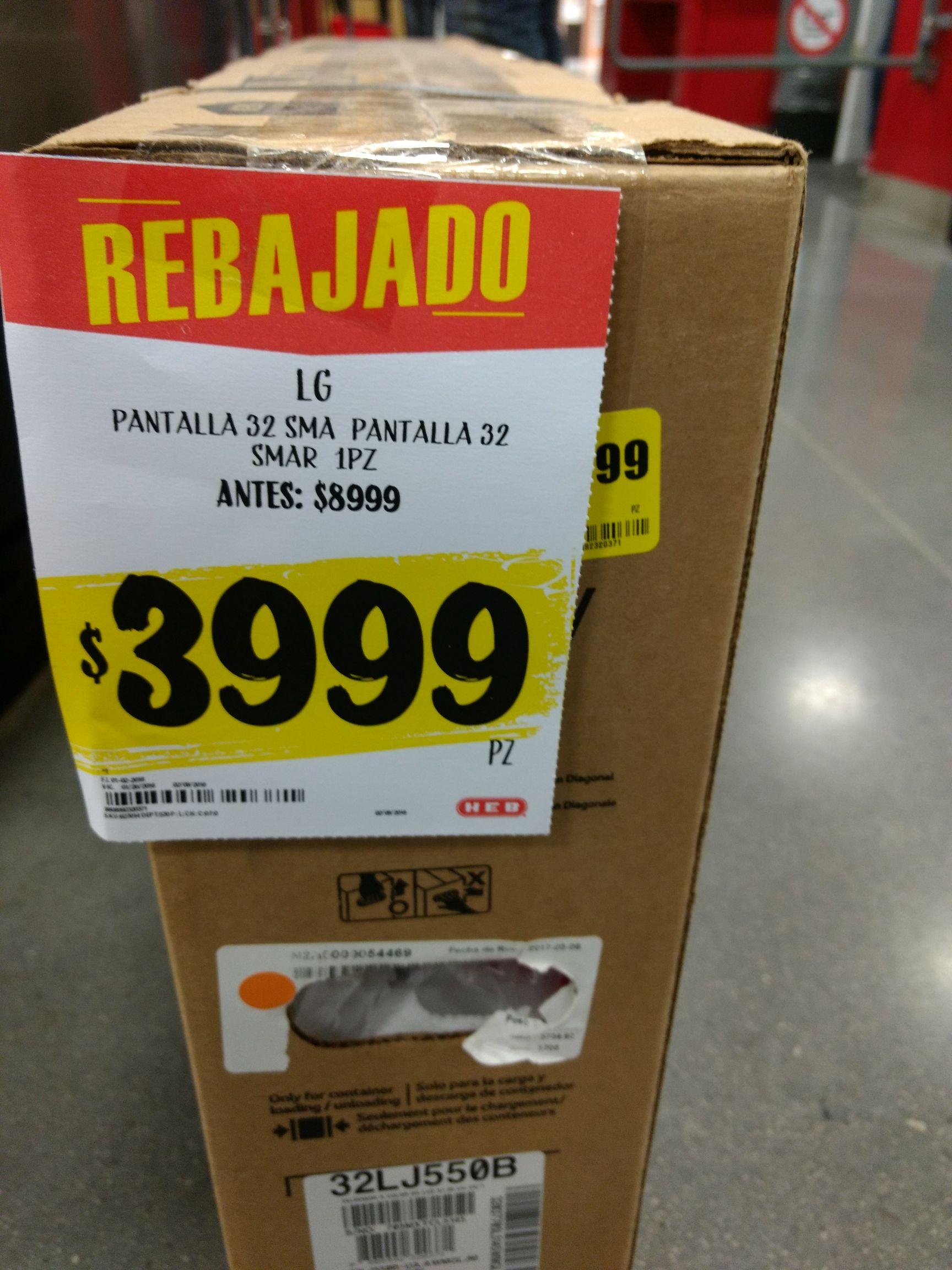 "HEB: Pantalla LG SMART TV 32"" a $3,999"