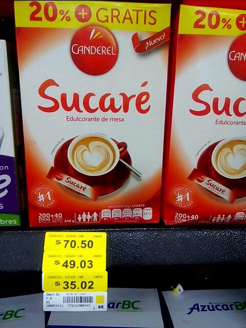 Walmart Poniente Querétaro Sucare by Canderel a solo 35 pesos.