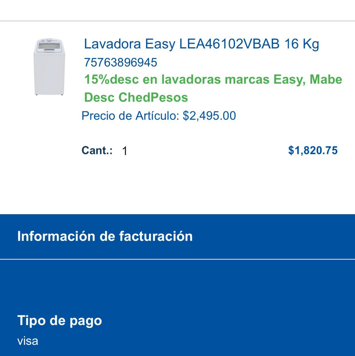 Chedraui online: Lavadora Easy LEA46102VBAB 16 Kg