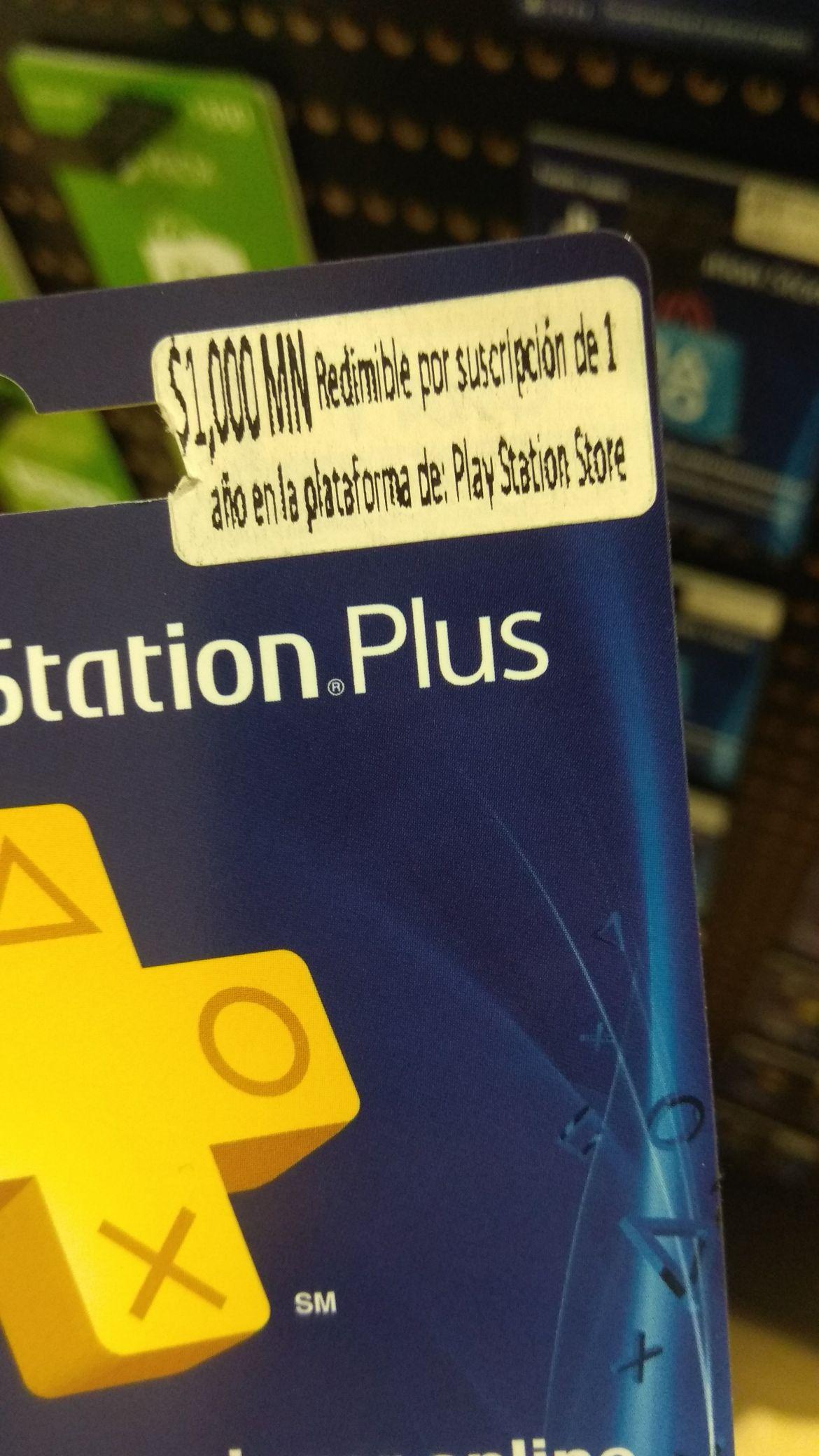 Soriana - tarjeta PS Plus 1 año a $1000