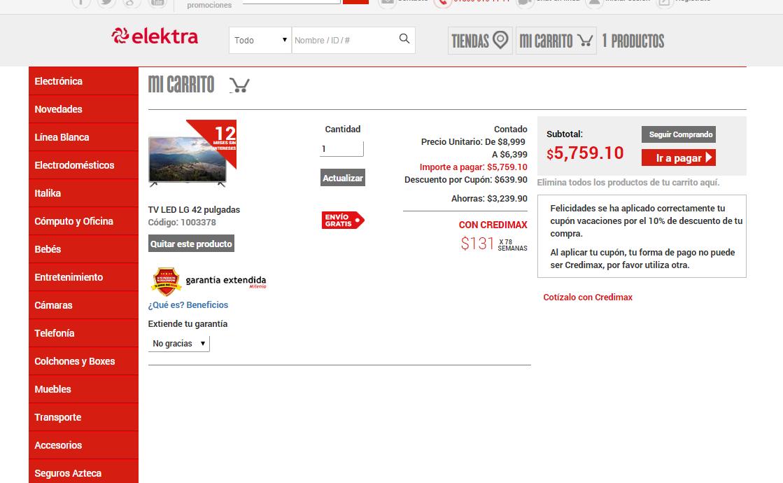 "Elektra: TV Led LG 42"" a $5,759"
