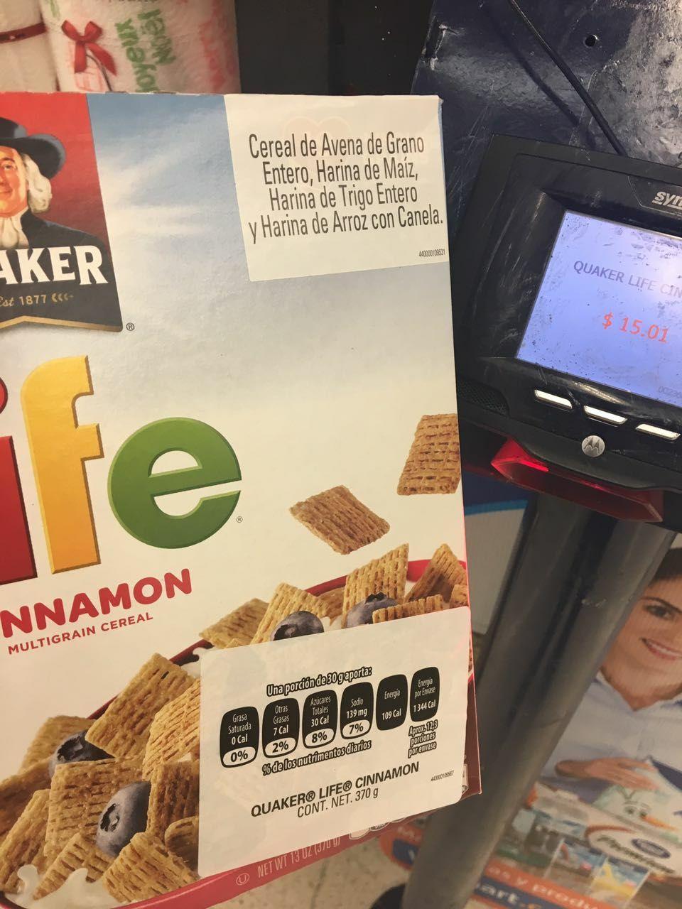 Walmart Águilas CdMx cereal Quaker life a $15.01 y Oatmeal Squares a 17.01