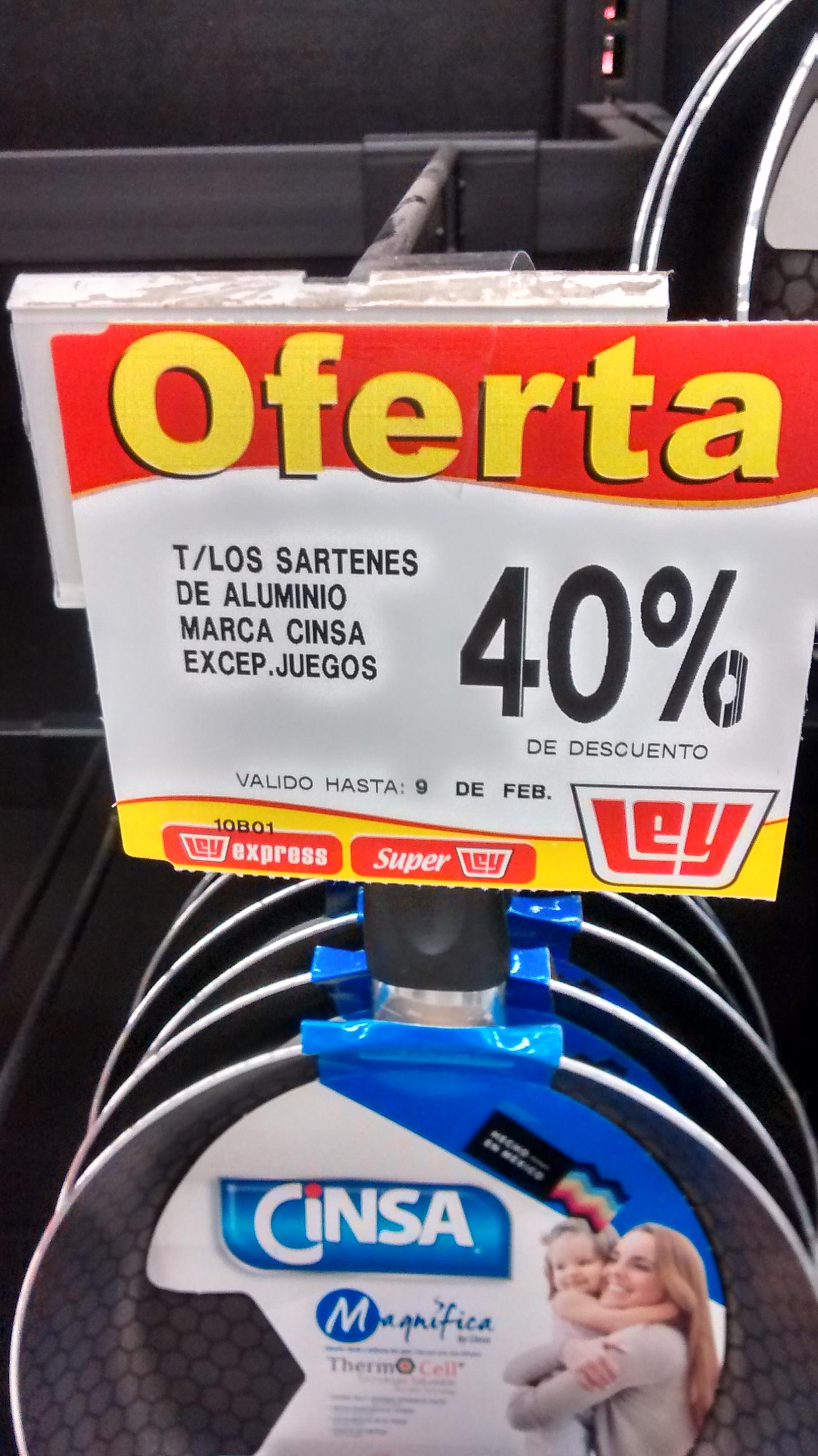 Tiendas Ley: 40% de descuento sartenes Cinsa