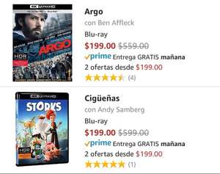 Amazon MX: Película en formato 4K en 199 (ej. Argo)