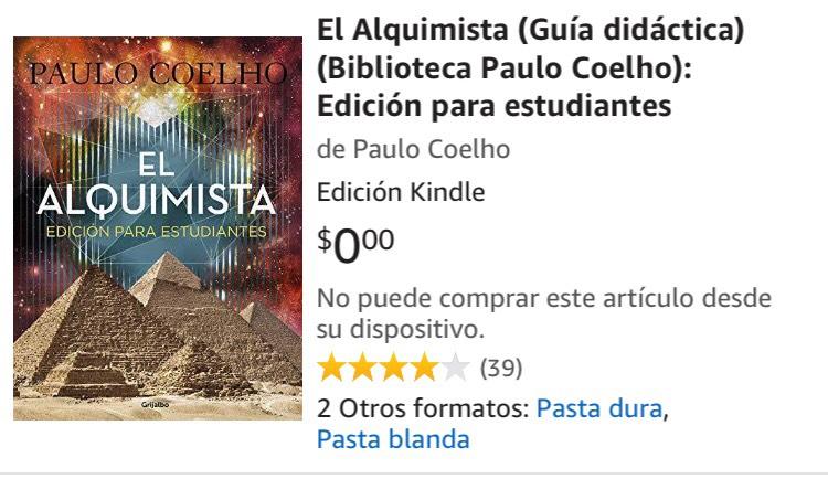Amazon: El alquimista de Paul Coelho GRATIS (Edición Kindle)