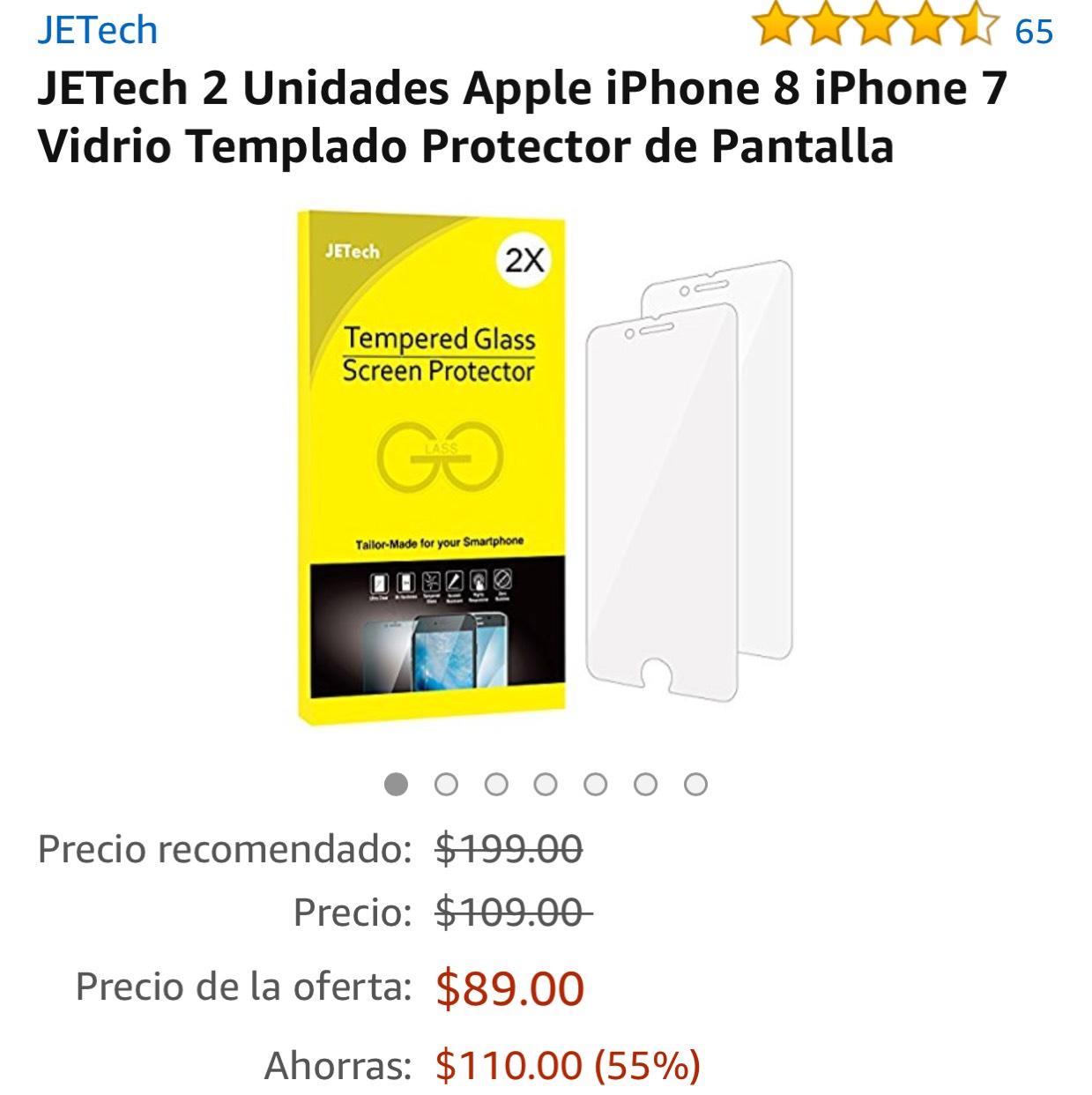 Amazon: Protector pantalla vidrio templado iPhone 7 y 8. Dos unidades