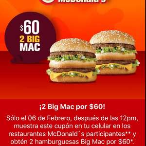 McDonald's: 2 Big Mac por $60
