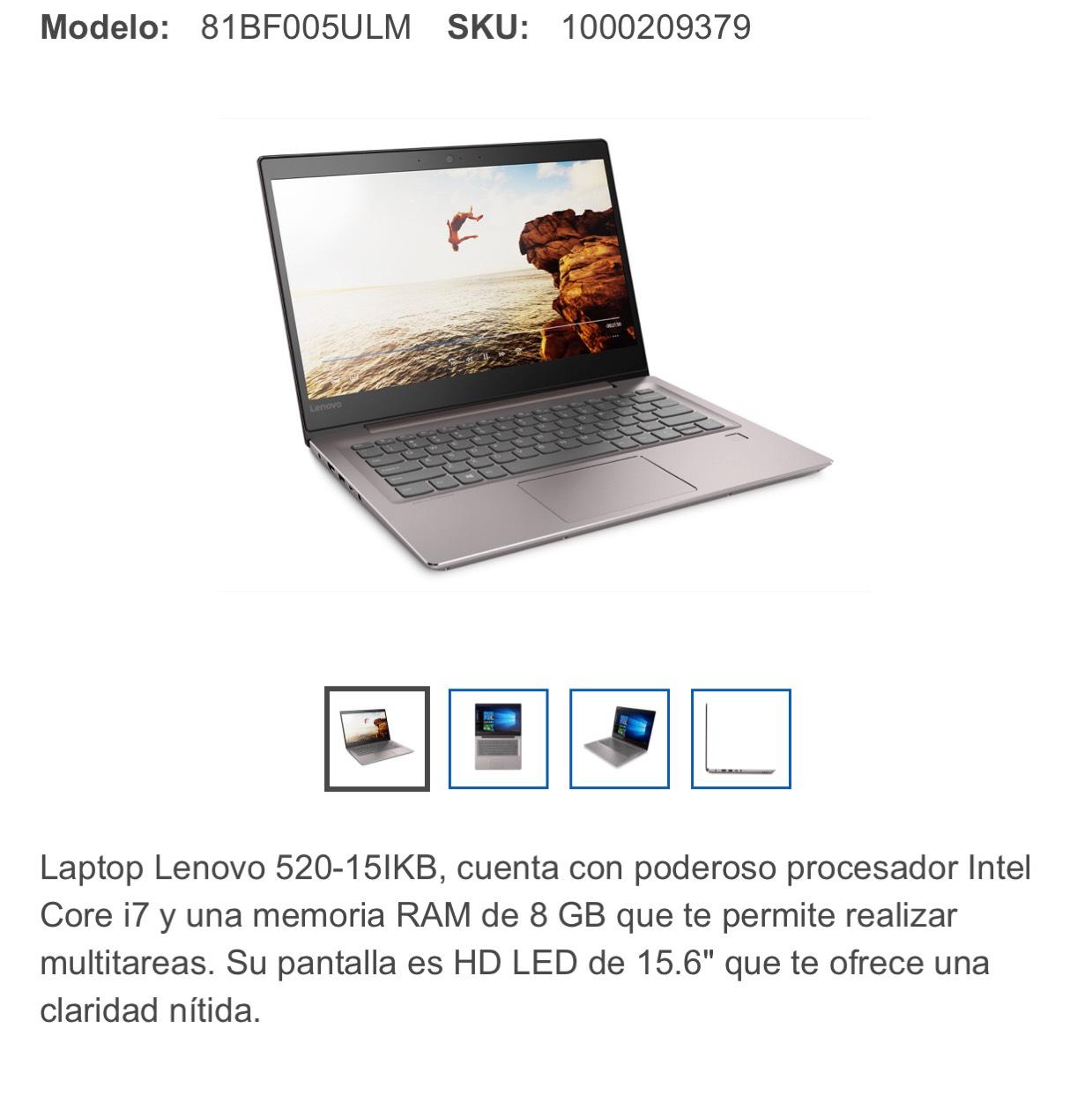Best Buy: Lenovo Laptop 520-15IKB Core i7 8GB 2TB