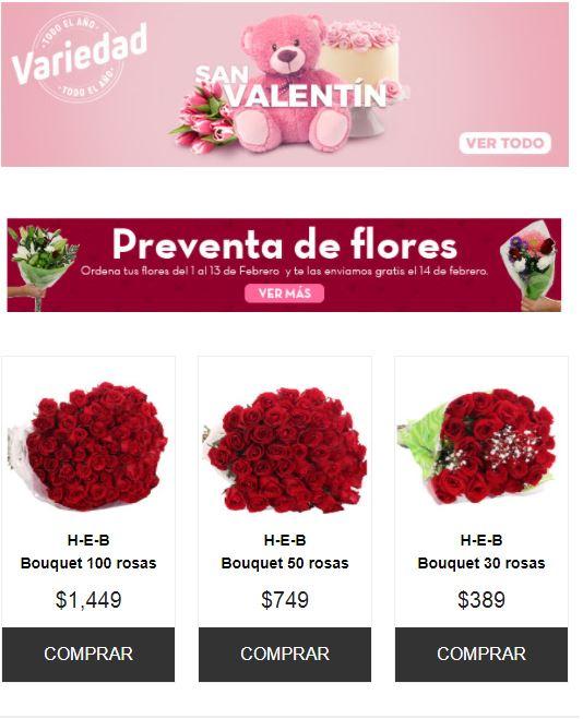 HEB: Envio gratis de flores este 14 de Febrero (pidiendo antes del 13)