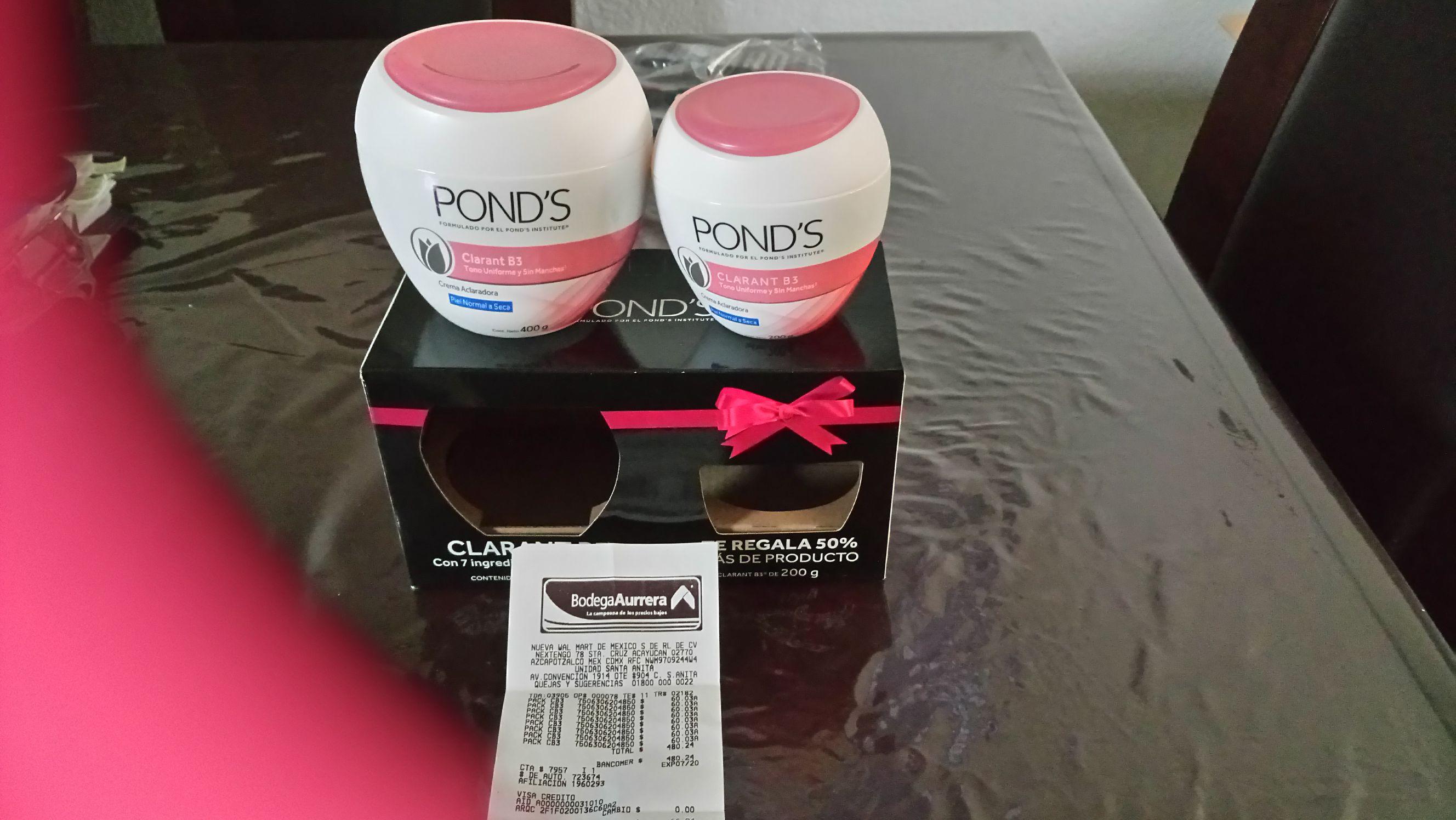 Bodega Aurrerá: Paquete de crema ponds aclarante 400 y 200 gr