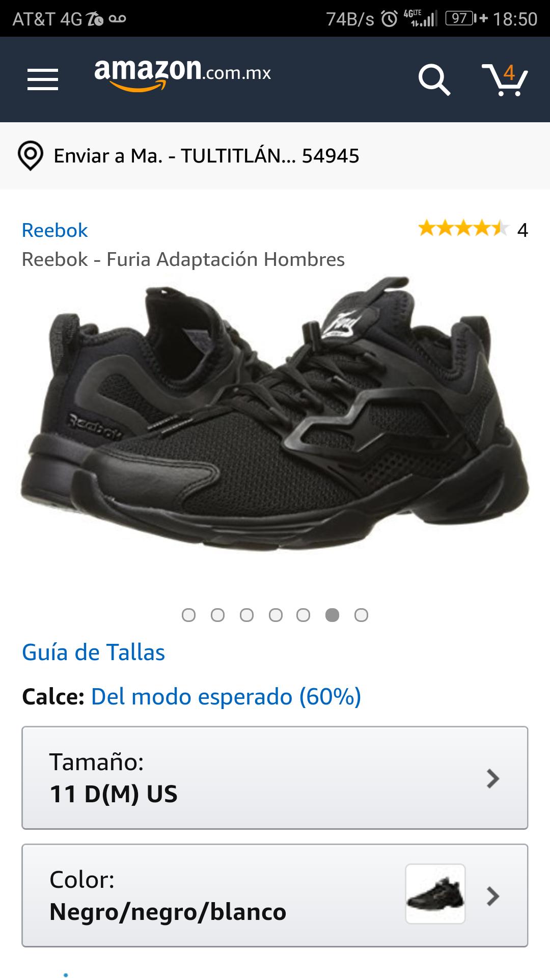 Amazon: Reebok Fury Adapt Negros del 9 en buen precio