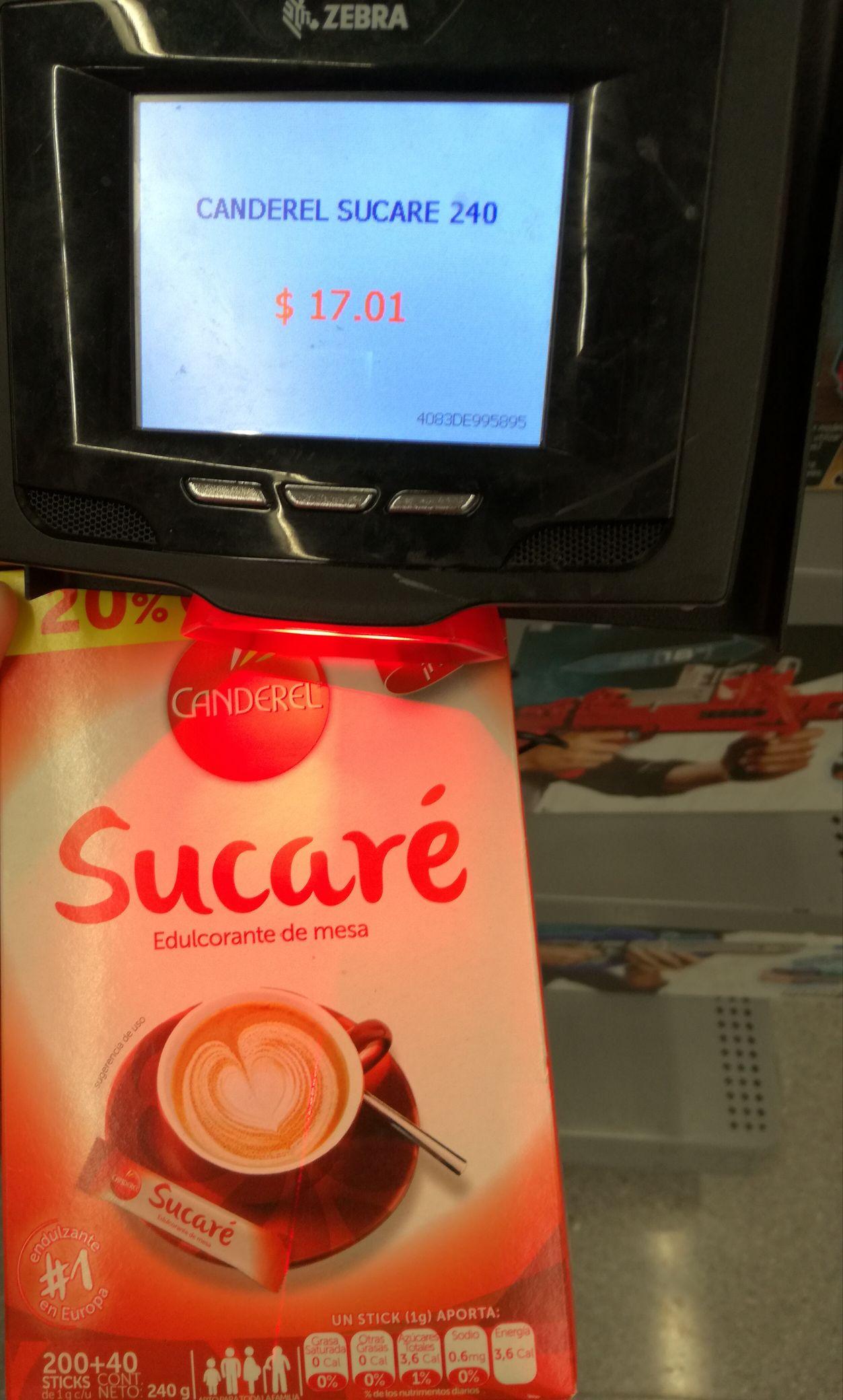 Walmart: canderel sacaré $17.01 y depend $15.03