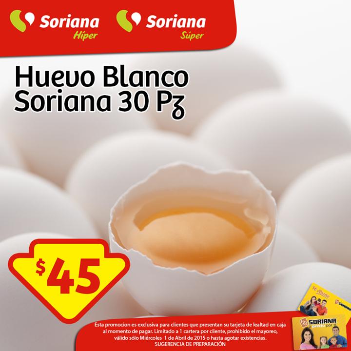 Soriana: 30 Huevos a $45