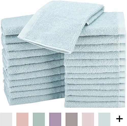 AmazonBasics Toalla pequeña de algodón, Paquete de 24, azul hielo