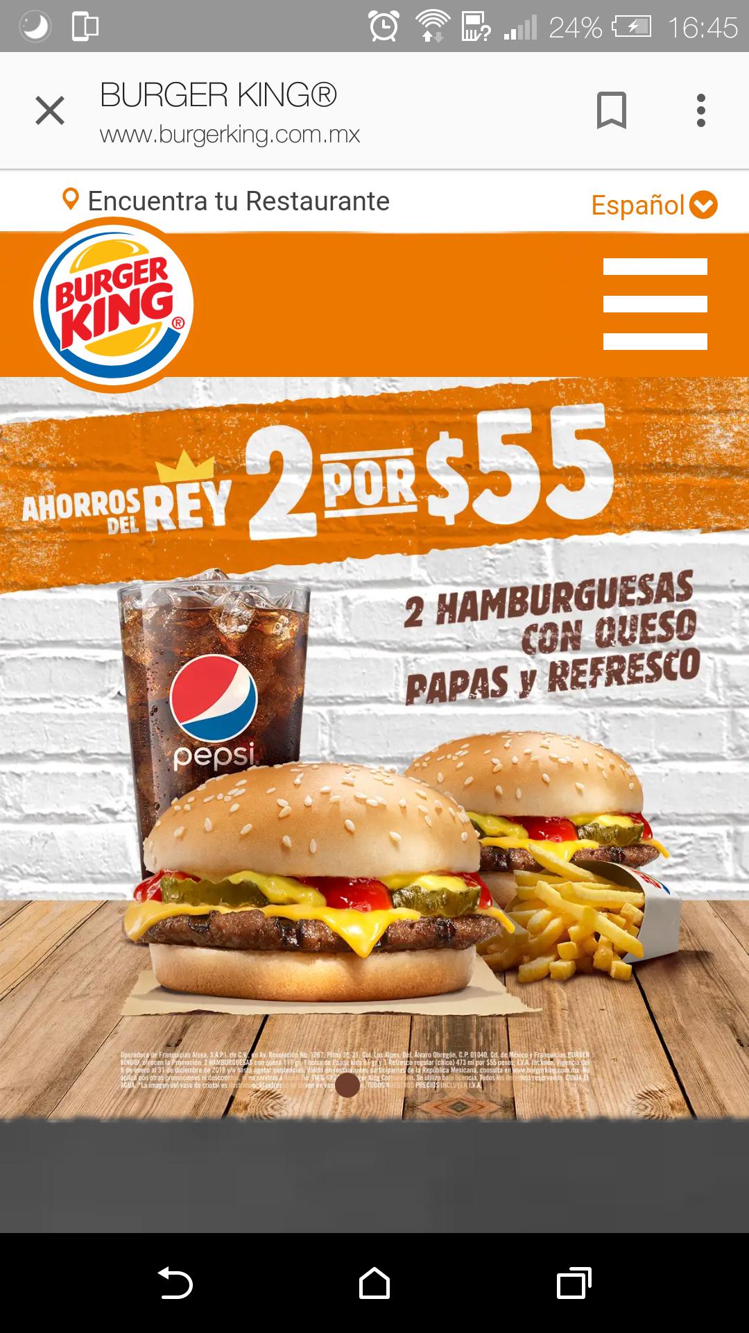 Burger King: 2 Hamburguesas + Papas y Refrescos por 55
