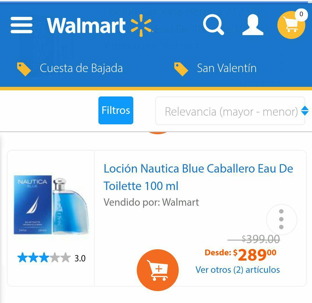 Walmart: Loción Nautica Blue Caballero Eau De Toilette 100 ml