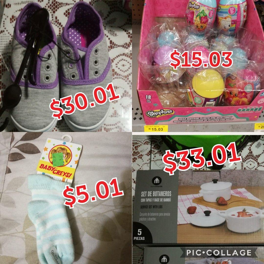 Walmart Veracruz calcetines bebe $5.01, huevo sorpresa shopkins $15.03,moldes ekco $25.02 set botanero 5 piezas $33.01,tenis niña $30.01 y mas