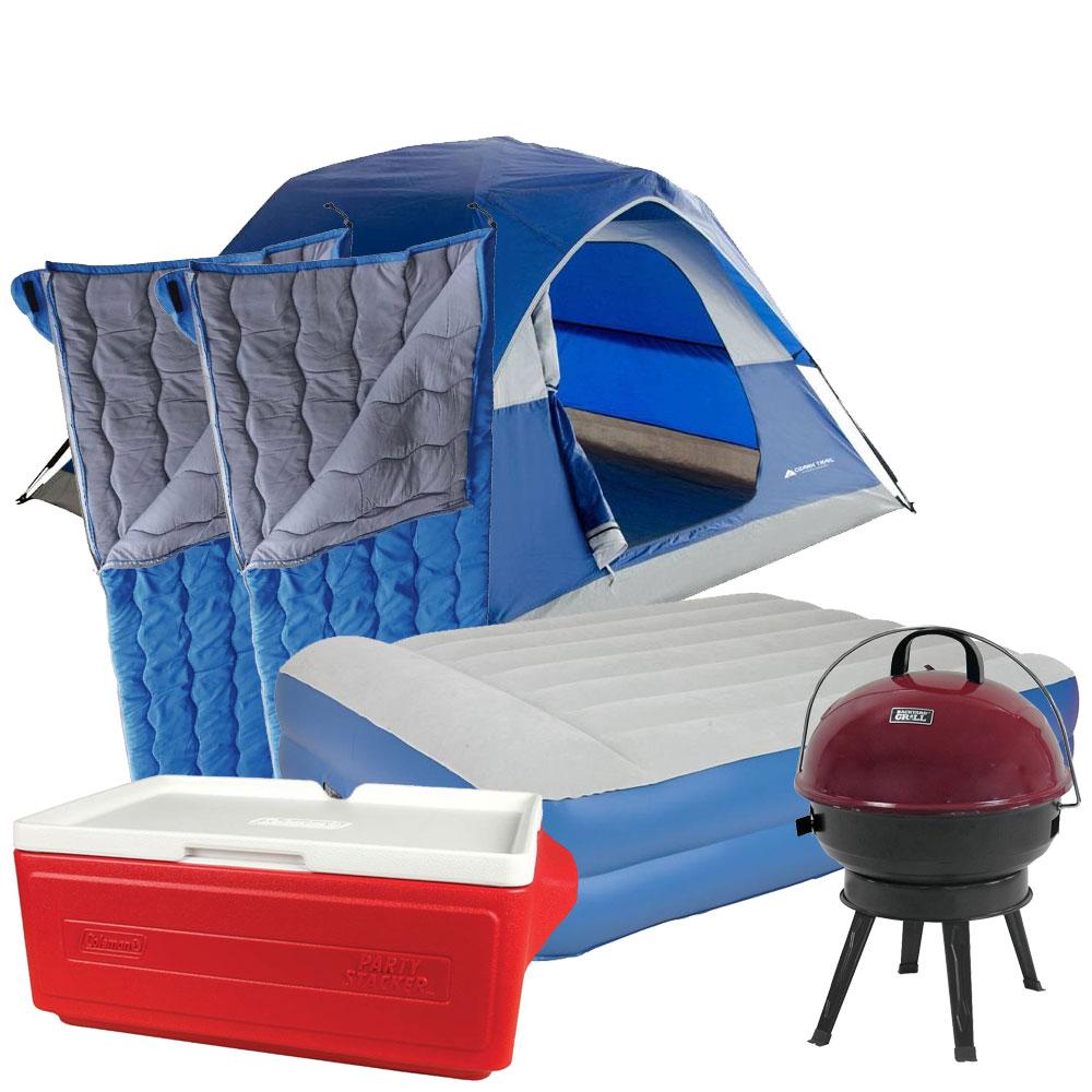 Walmart:Tienda+colchón+hielera+asador+2 sleeping bags