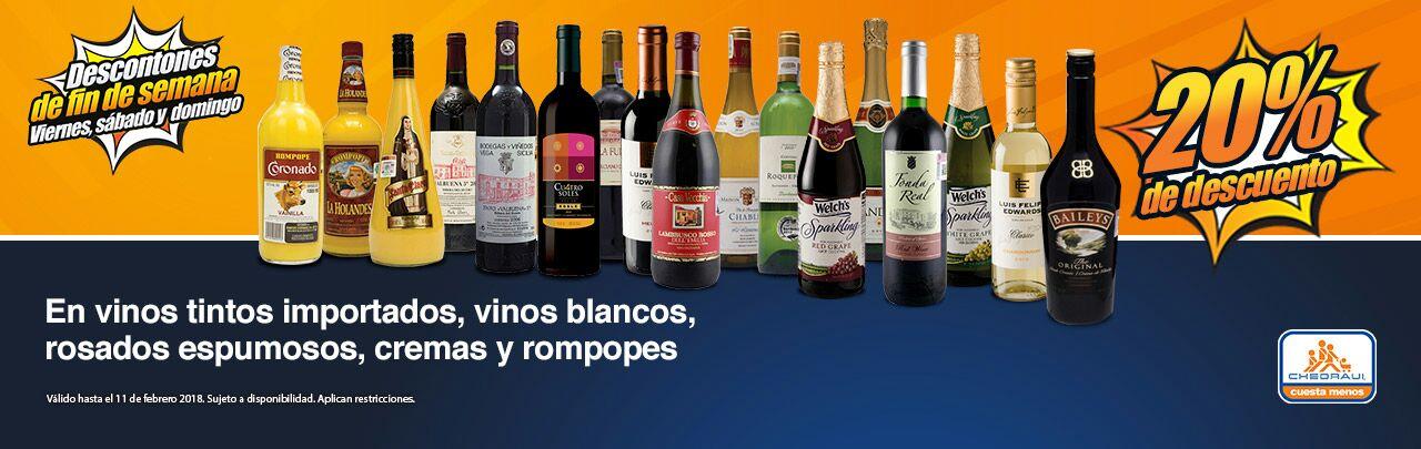 Chedraui: Ofertas de Fin de Semana: 20% de descuento en vinos tintos importados, blancos, rosados espumosos, cremas y rompopes... Y más