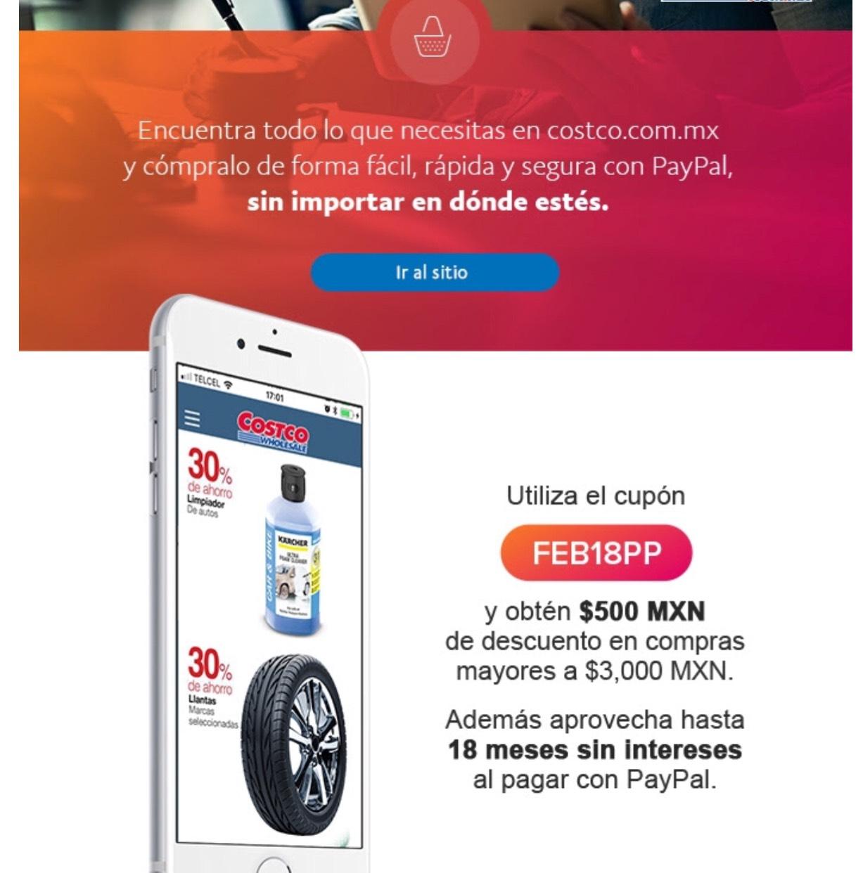 Costco: Cupon de $500 con Paypal en compras de $3,000  y hasta 18 MSI con CitiBanamex