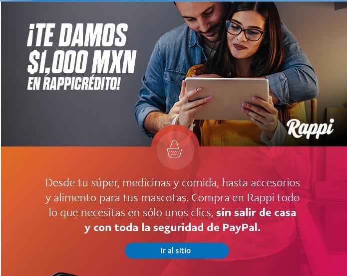 Paypal: 1000 de Rappicrédito para costo de envios en Rappi