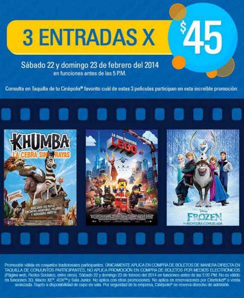 Cinépolis: 3 entardas a $45 para Frozen, Película LEGO y Khumba