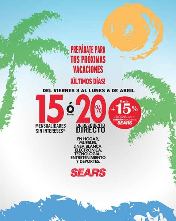 Sears: 20% de descuento directo o 15 meses sin intereses en tecnologia , electronica y mas