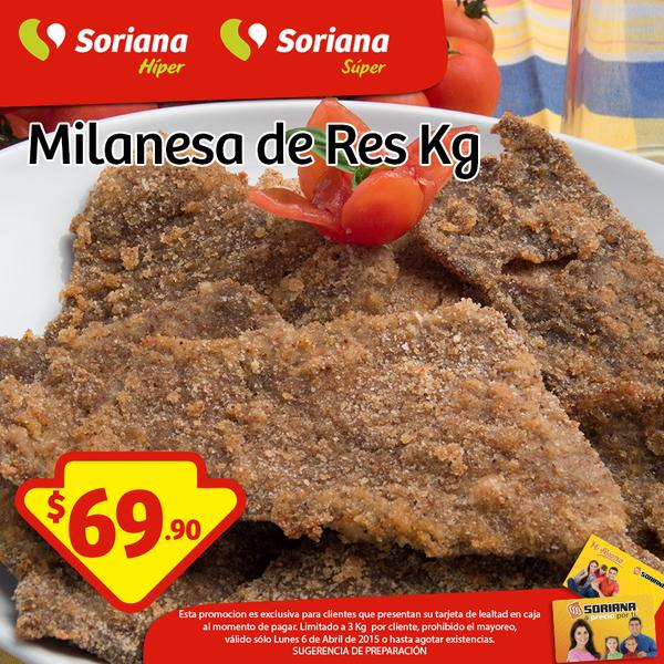 Soriana: milanesa de res $69.90/Kg