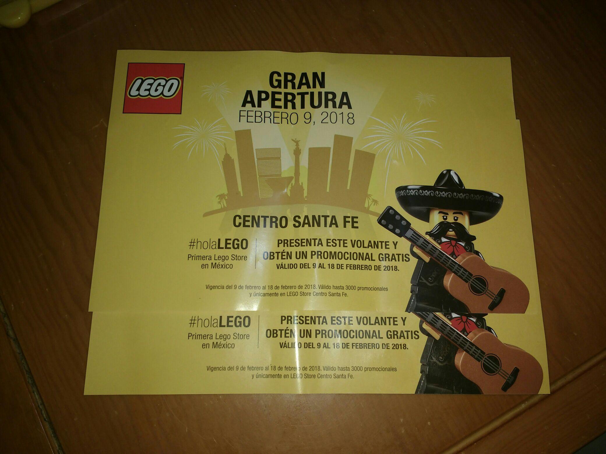 1a Tienda Lego en Centro Santa Fe, gratis promocional presentando volante.