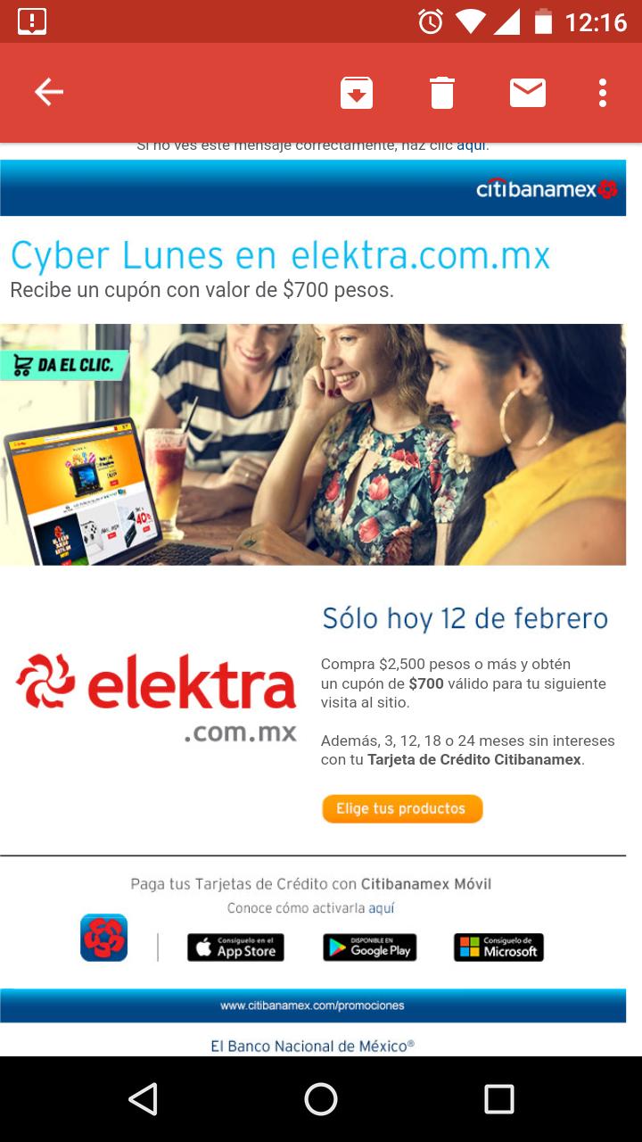 Elektra: Cashback de $700 en la compra de $2,500 al comprar con Banamex