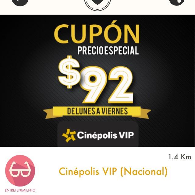 Cuponerapp: Cinépolis VIP -  Entrada de lunes a viernes a $92 y más