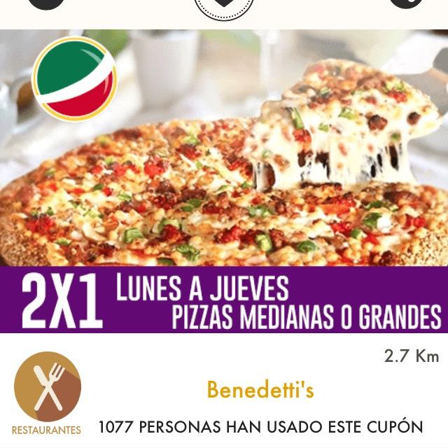 Cuponerapp: Benedetti's: 2x1 en pizzas medianas o grandes de lunes a jueves